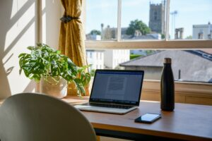 photo of home office with desk, plant, water and natural light